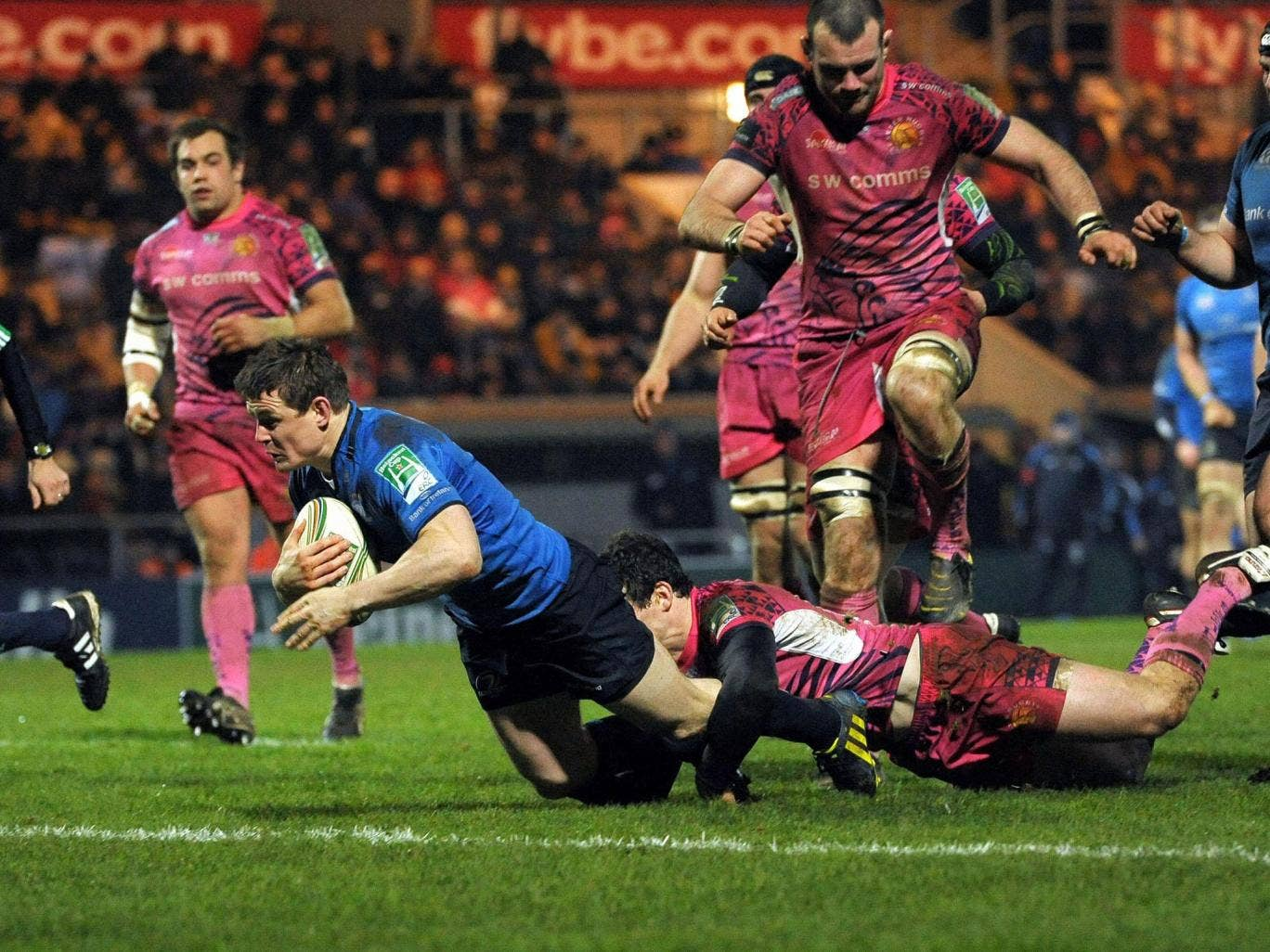 Over he goes: Brian O'Driscoll scores the third of Leinster's four tries against Exeter – his 32nd in 82 Heineken Cup appearances
