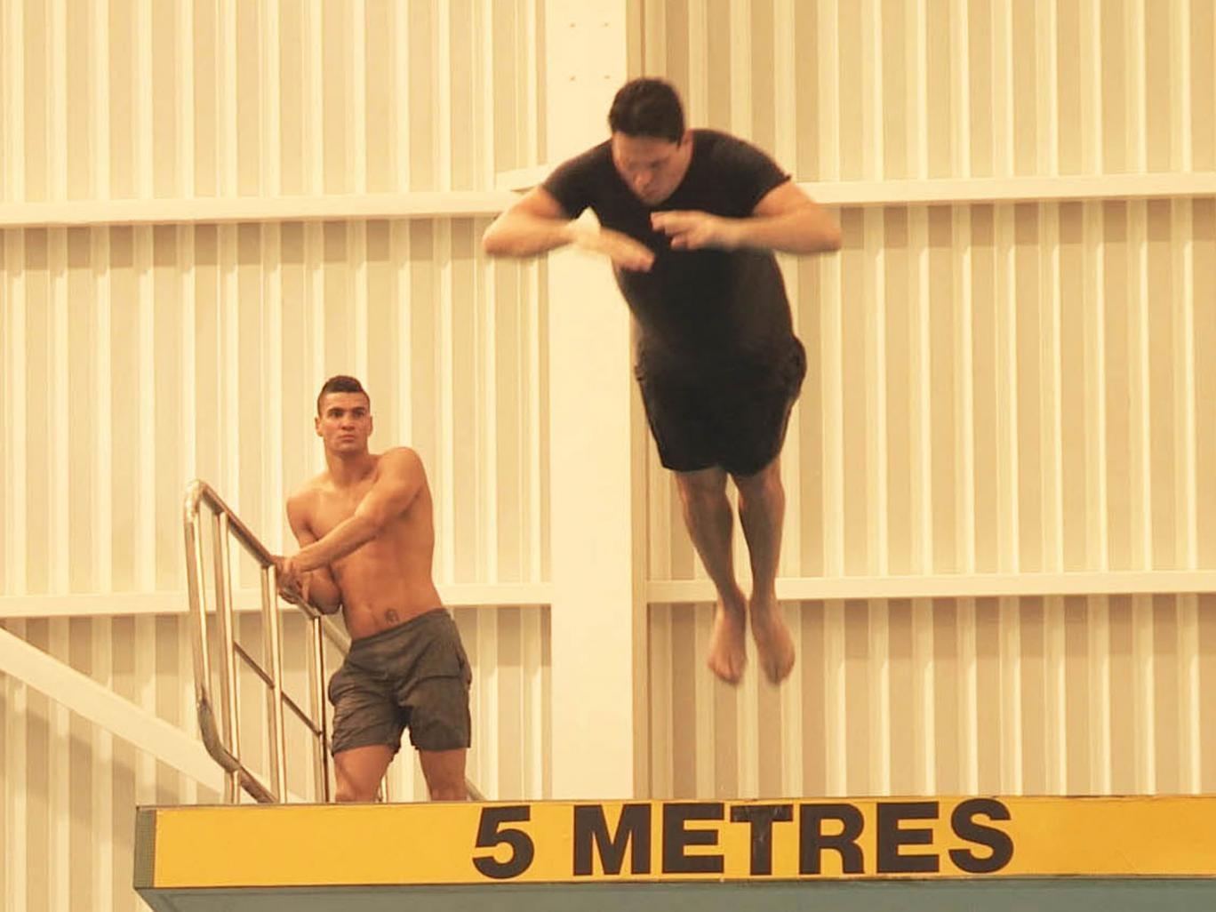 Dom Joly in mid-flight on Splash!