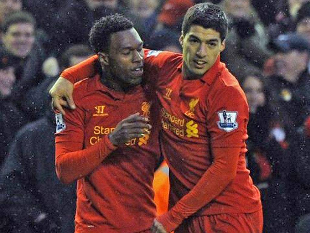 Daniel Sturridge (left) and Luis Suarez started together for the first time on Saturday