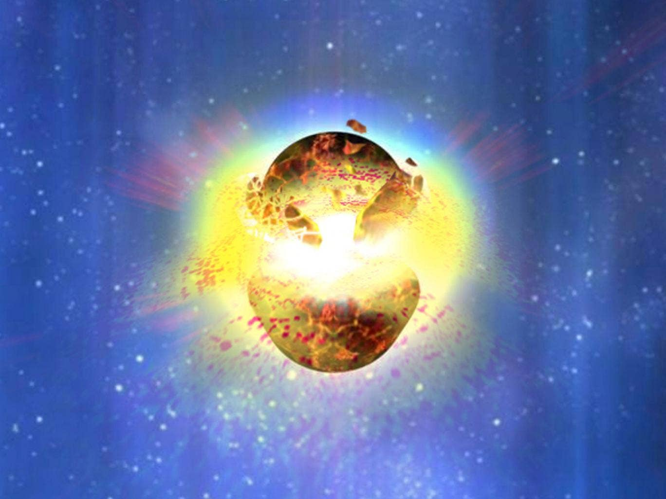 An artist's impression of two neutron stars colliding to produce a gamma ray burst