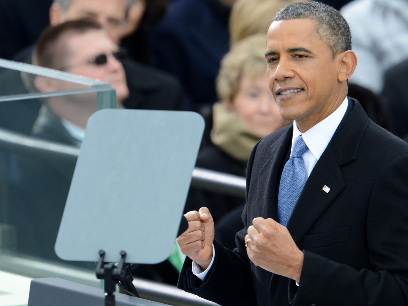 Barack Obama delivers remarks after taking the oath of office