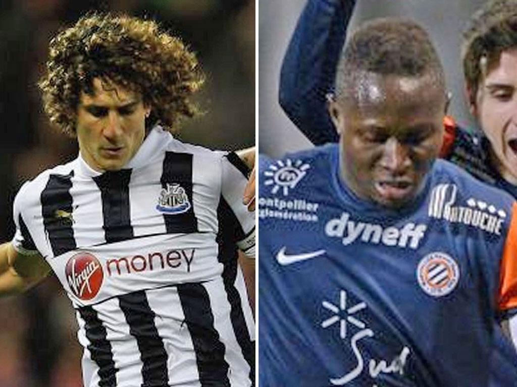 The Newcastle United captain Fabricio Coloccini, left, while Newcastle had lined up a move for defender Mapou Yanga-Mbiwa, right