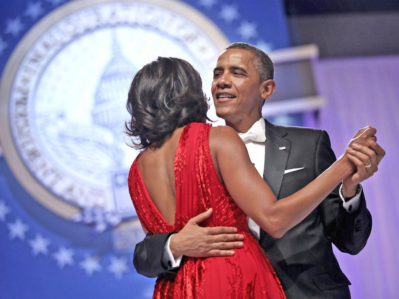 Barack and Michelle Obama dance at the Inaugural Ball in Washington