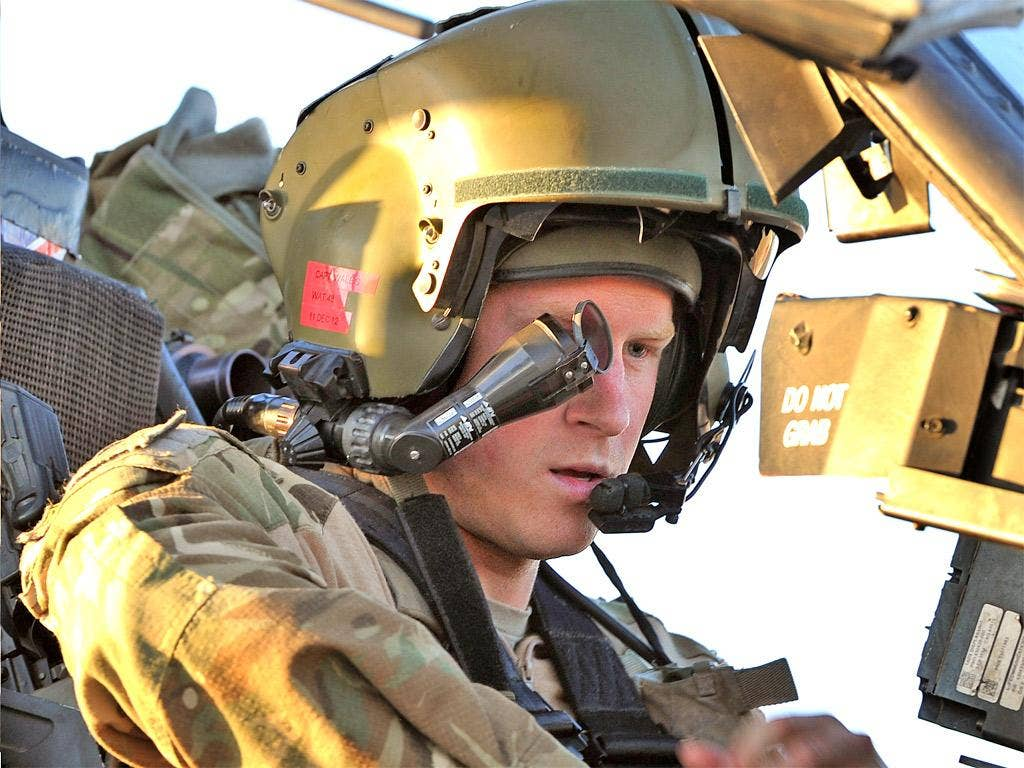 Prince Harry at the controls of an Apache helicopter