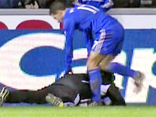 TV still shows Eden Hazard kicking the Swansea ball boy
