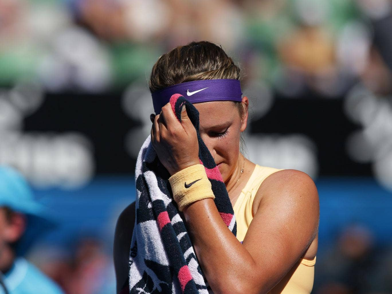 Victoria Azarenka, the defending champion, was facing accusations of gamesmanship here today