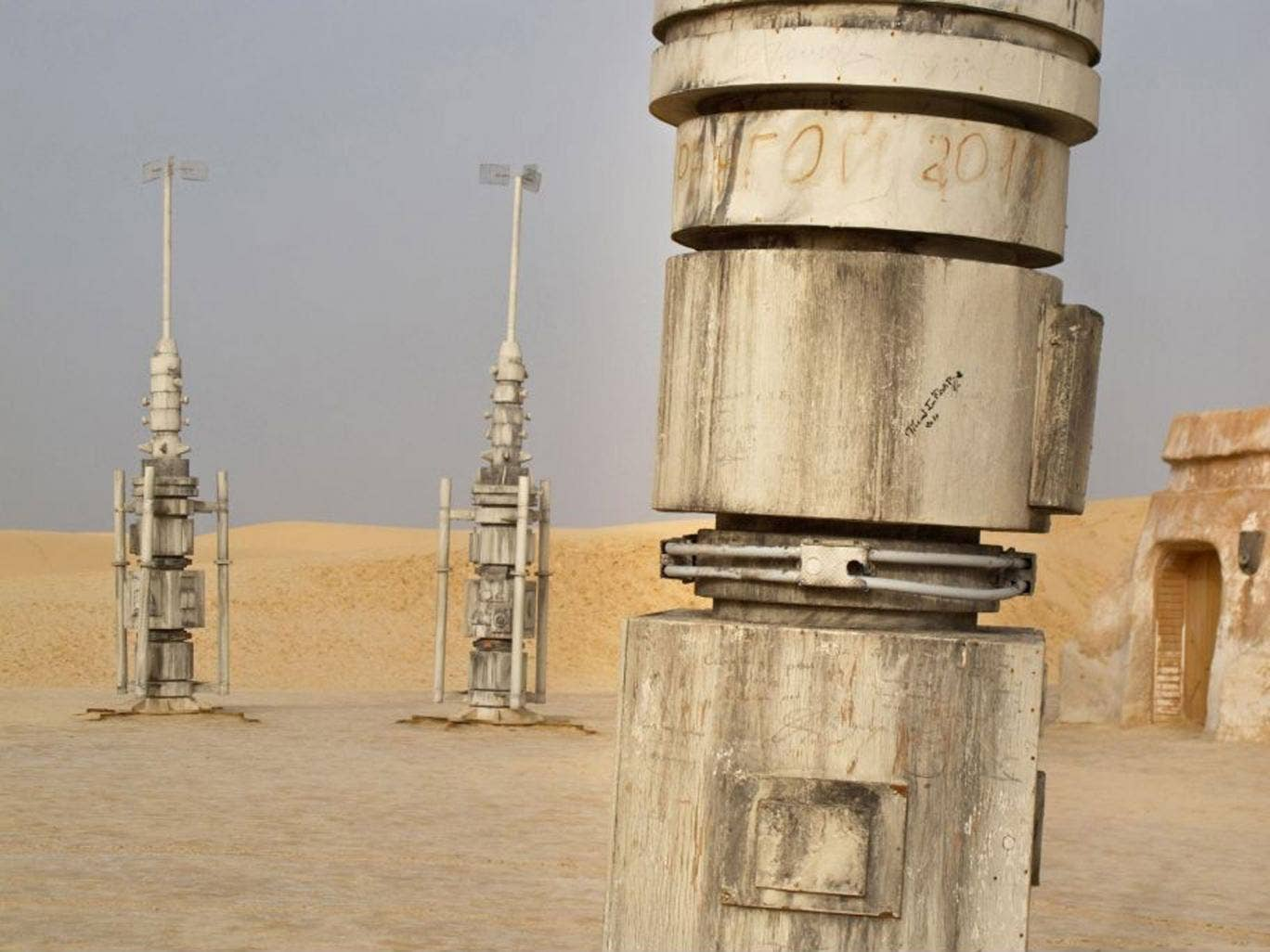 Bits of the Star Wars set were left on location and have long since gathered sand