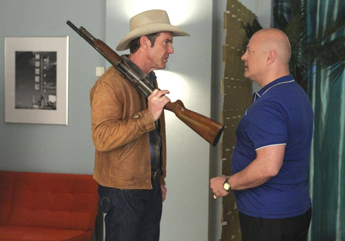 Dennis Quaid, left, is a lawman and Michael Chiklis is a gangster in Vegas
