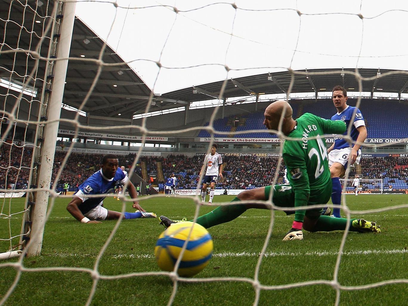 Marvin Sordell's shot slips past Everton goalkeeper Tim Howard