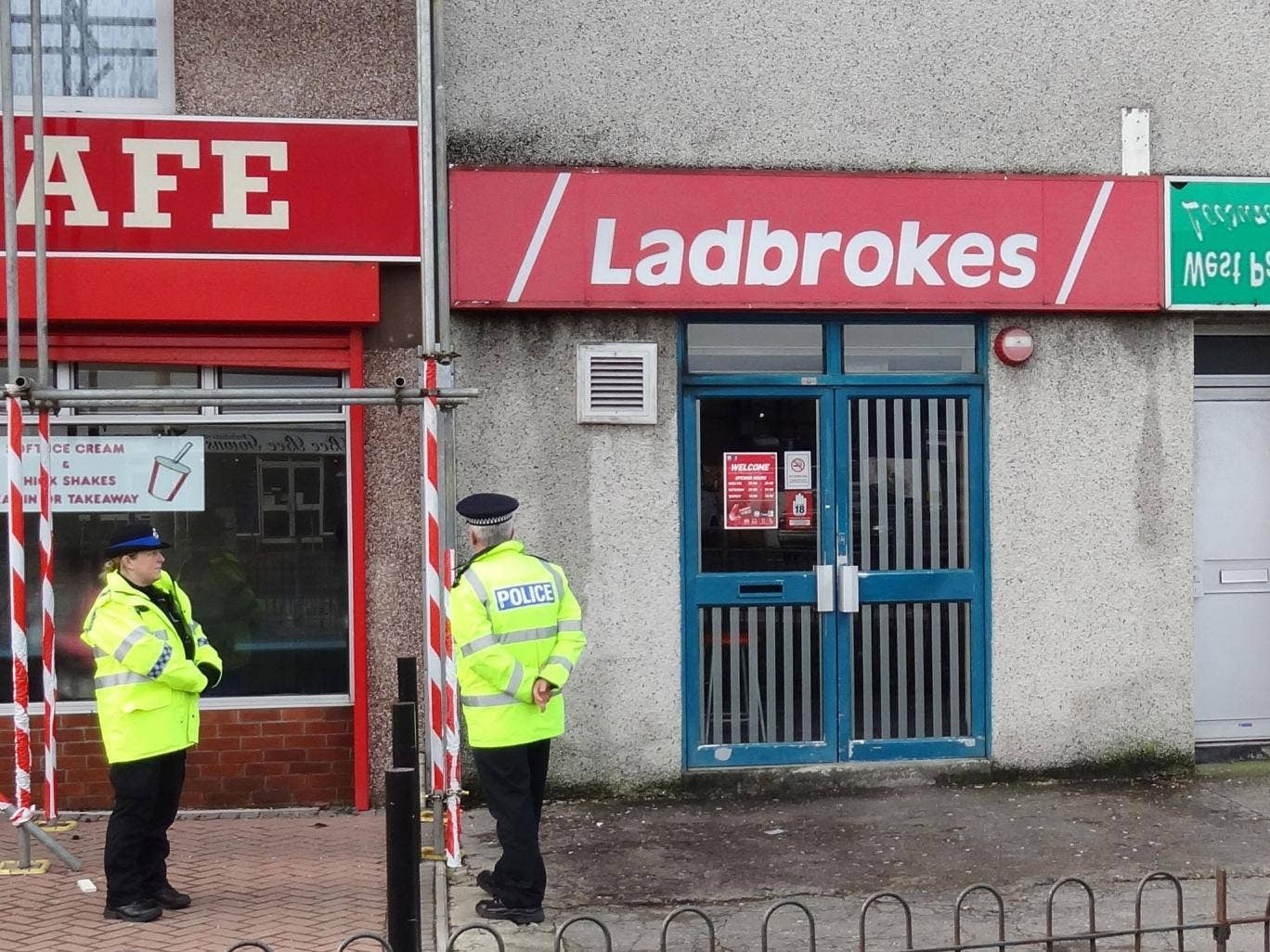 Crime scene: Alan Levers died at a Ladbrokes in Plymouth