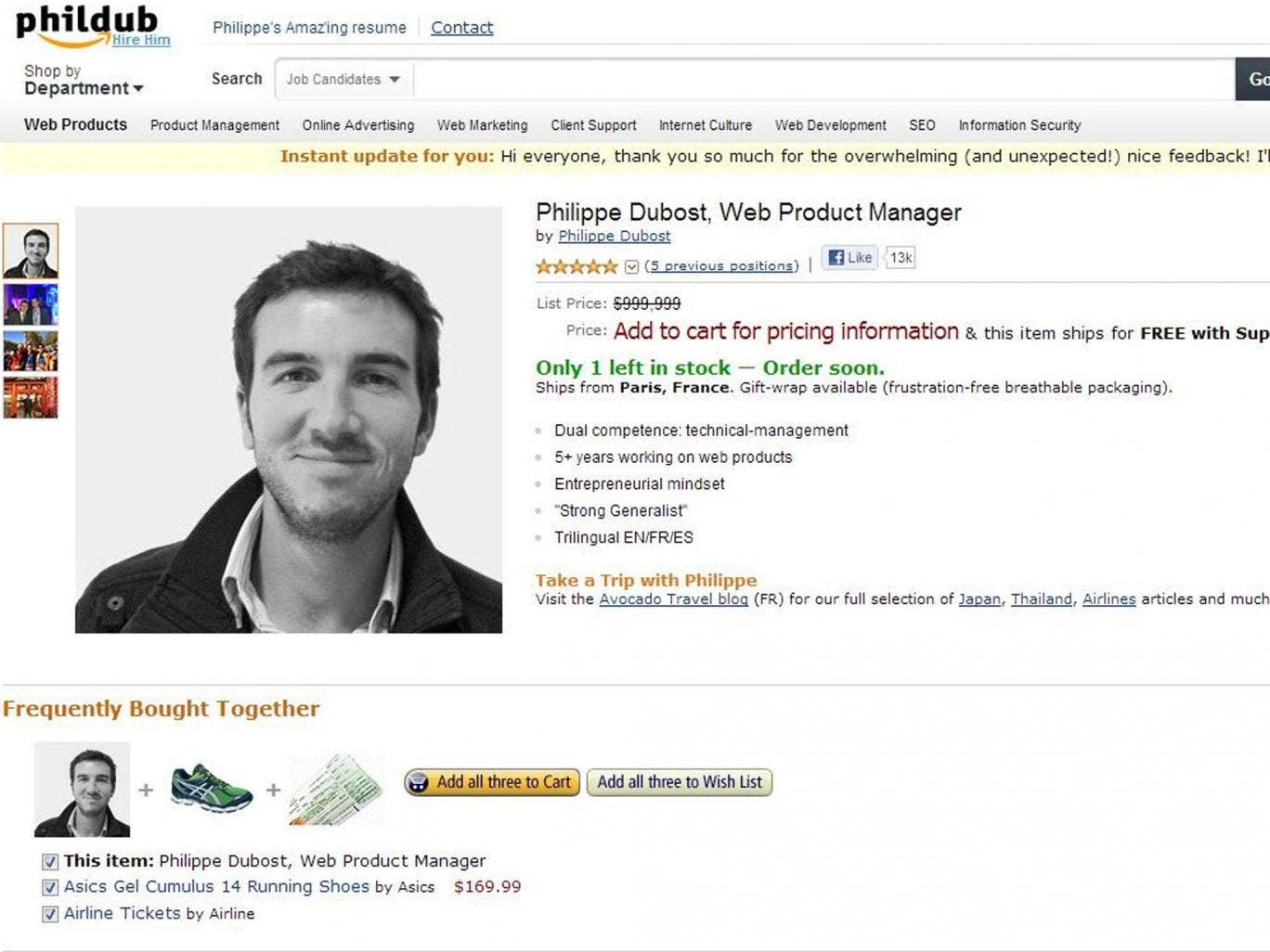 Self-promotion: Philippe Dubost's fake Amazon page has attracted more than 100 potential employers