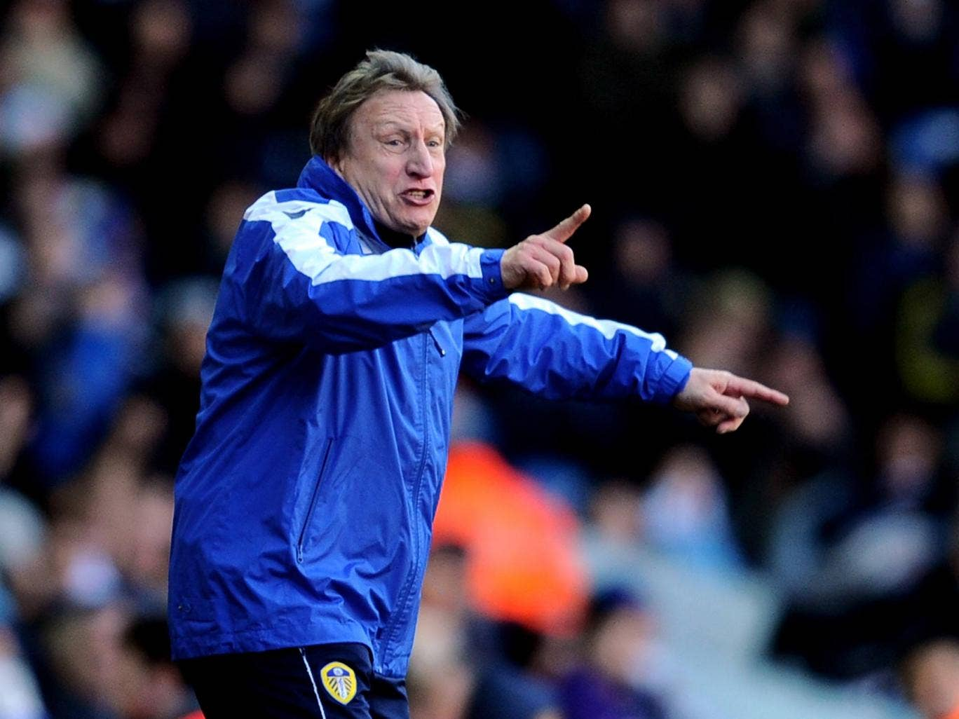Neil Warnock makes a point on the touchline at Leeds