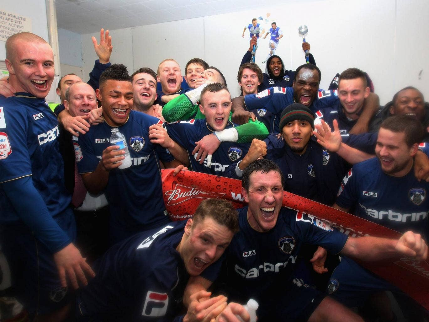 Oldham celebrate their FA Cup victory over Liverpool