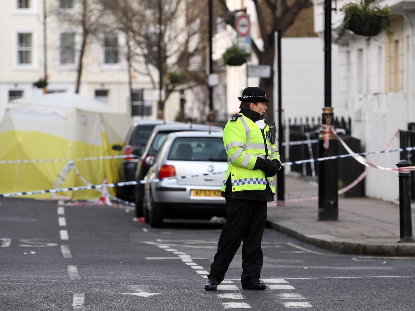 The scene of the stabbing in Pimlico