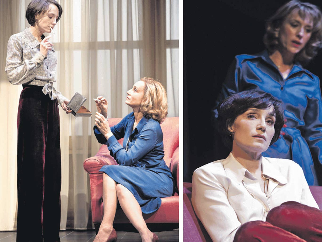 All change: Lia Williams as Kate and Kristin Scott Thomas as Anna in 'Old Times', and after switching roles