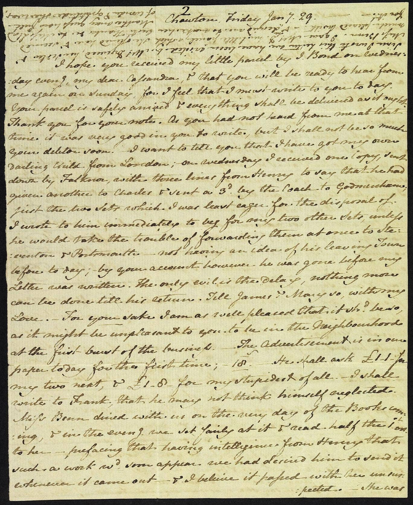 'Darling child' letter from Jane Austen to her sister Cassandra about Pride and Prejudice.