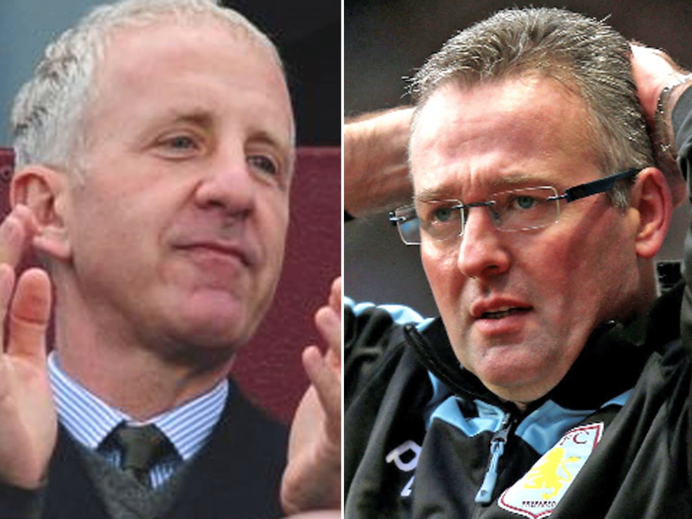 Aston Villa owner Randy Lerner (left) has reiterated his support for manager Paul Lambert ahead of tomorrow's crunch Barclays Premier League clash with fellow strugglers Newcastle