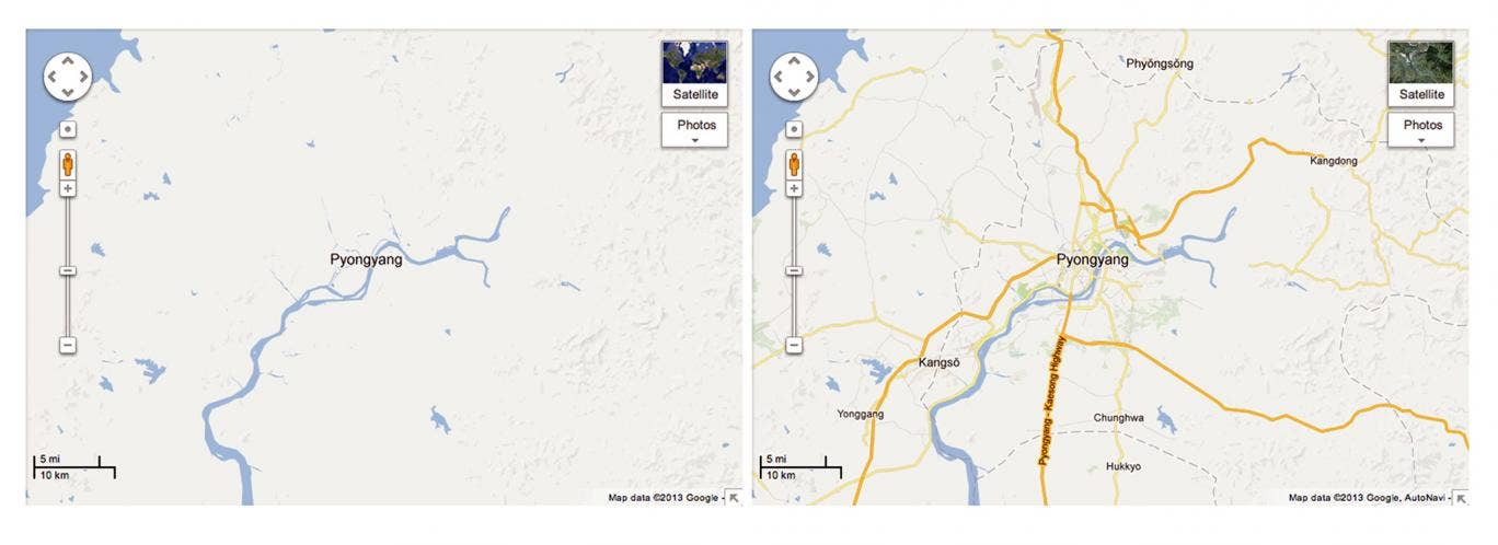 Now and then: Google's previous coverage of North Korea (left) and the now expanded map of the country