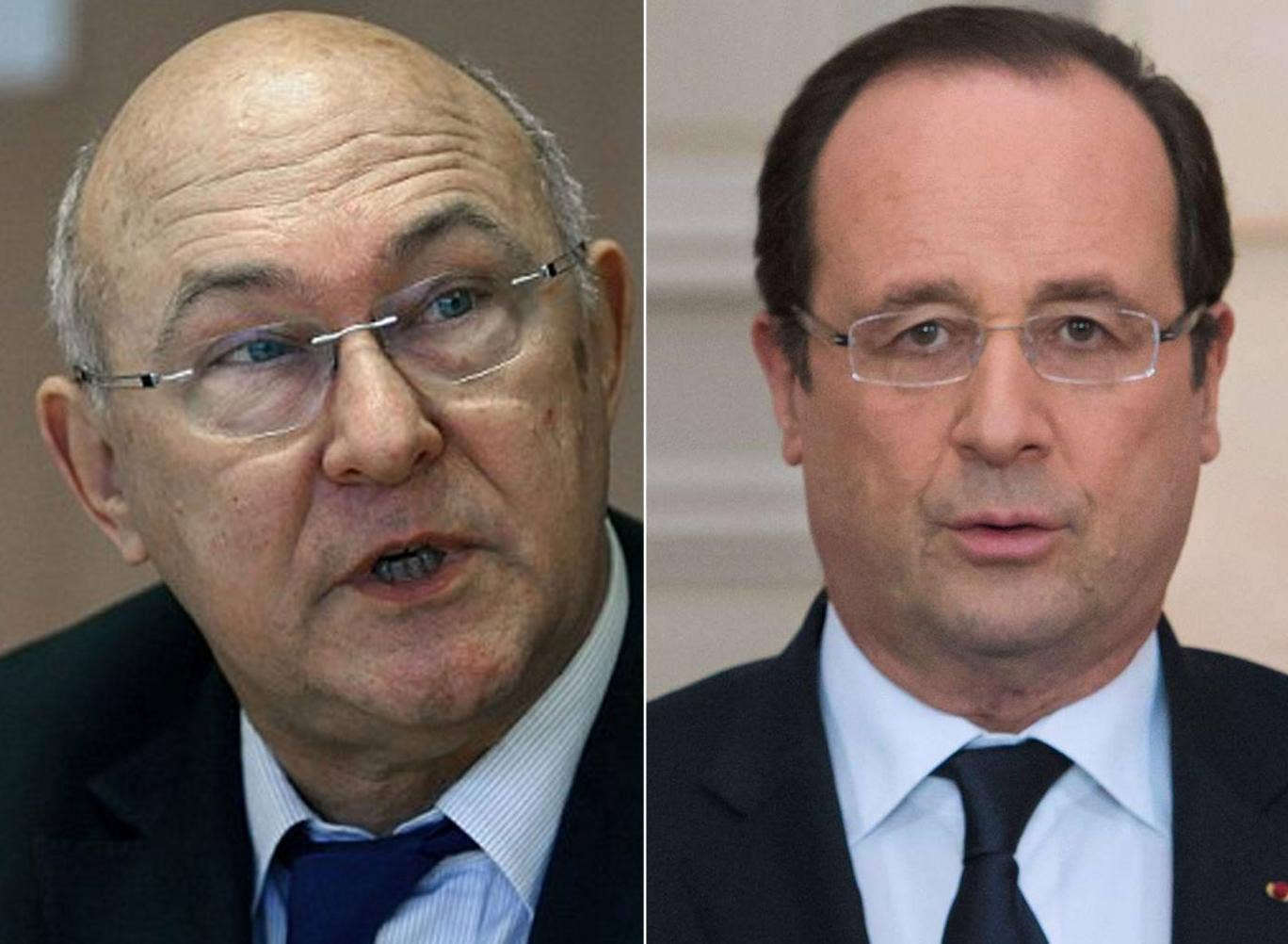 Michel Sapin and Francois Hollande