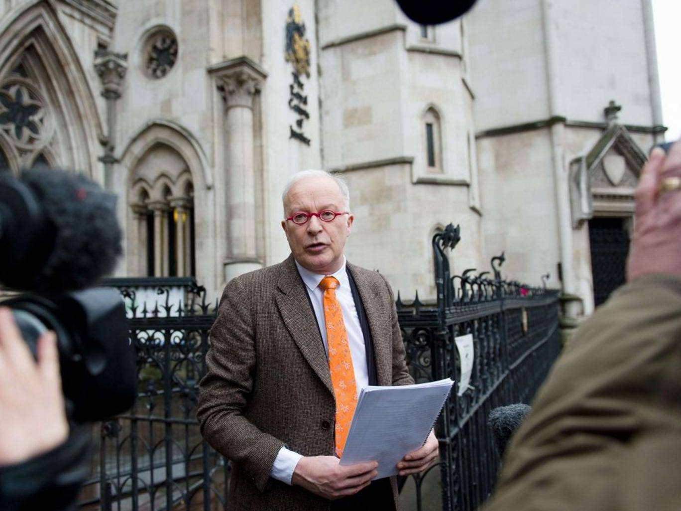 Phil Shiner of Public Interest Lawyers outlines his case outside the High Court