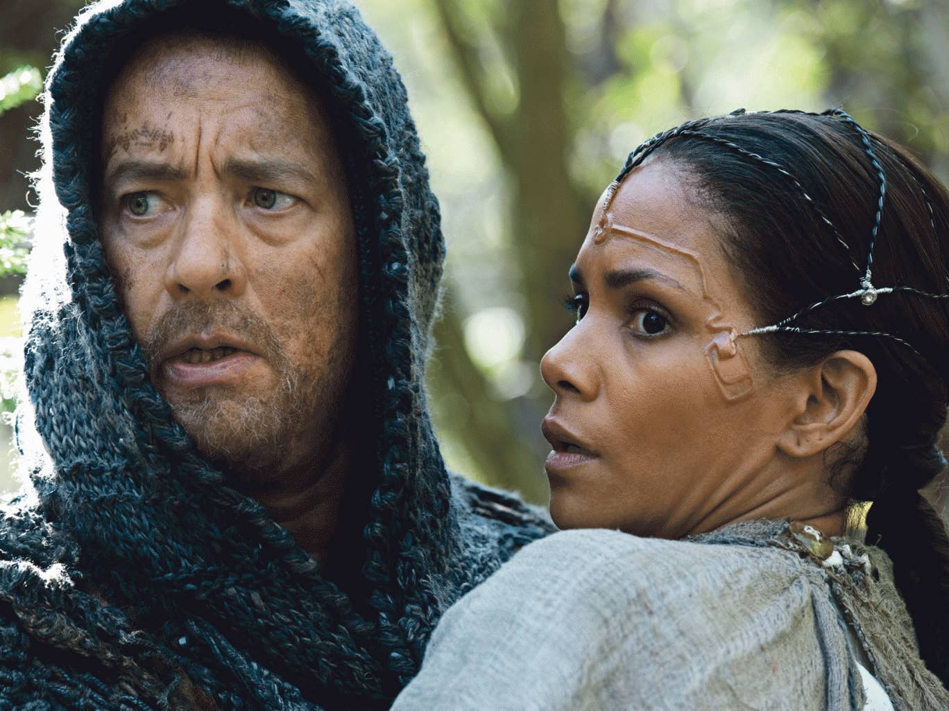 Heads up: Tom Hanks and Halle Berry in 'Cloud Atlas'