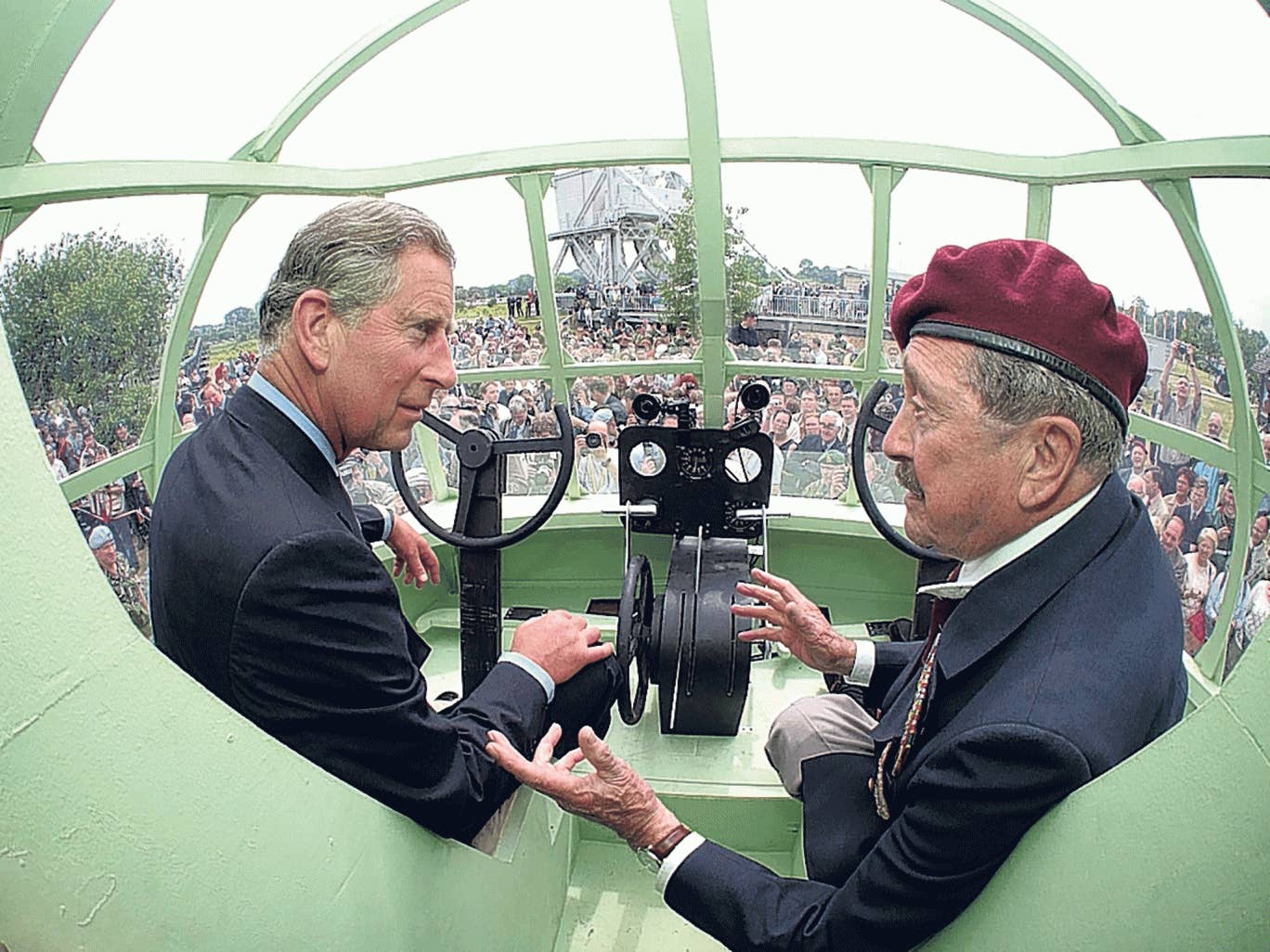 Wallwork with Prince Charles in a replica Horsa glider at a 2004 D-Day reunion at Pegasus Bridge
