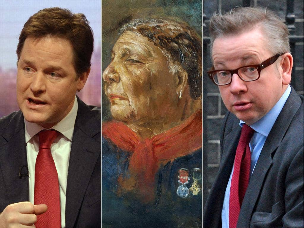 Deputy Prime Minister Nick Clegg, Mary Seacole and Education Minister Michael Gove