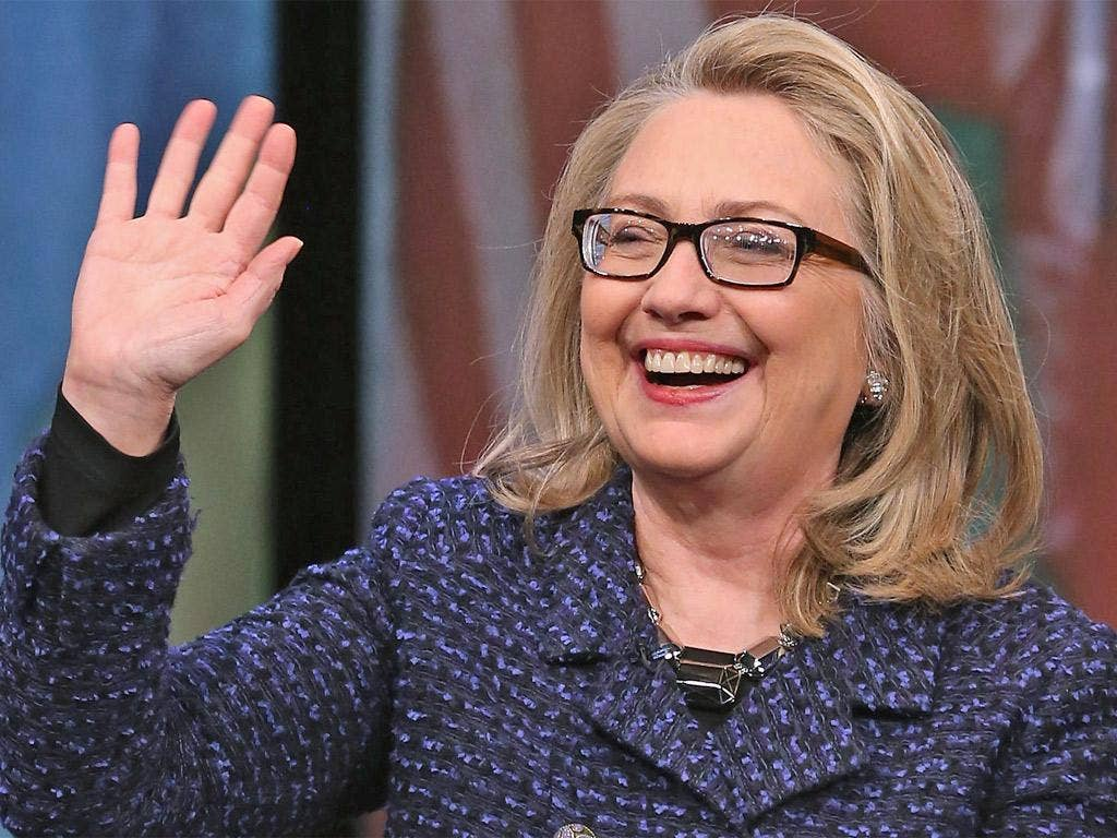 Hillary Clinton waves goodbye after holding a 'Global Townterview'