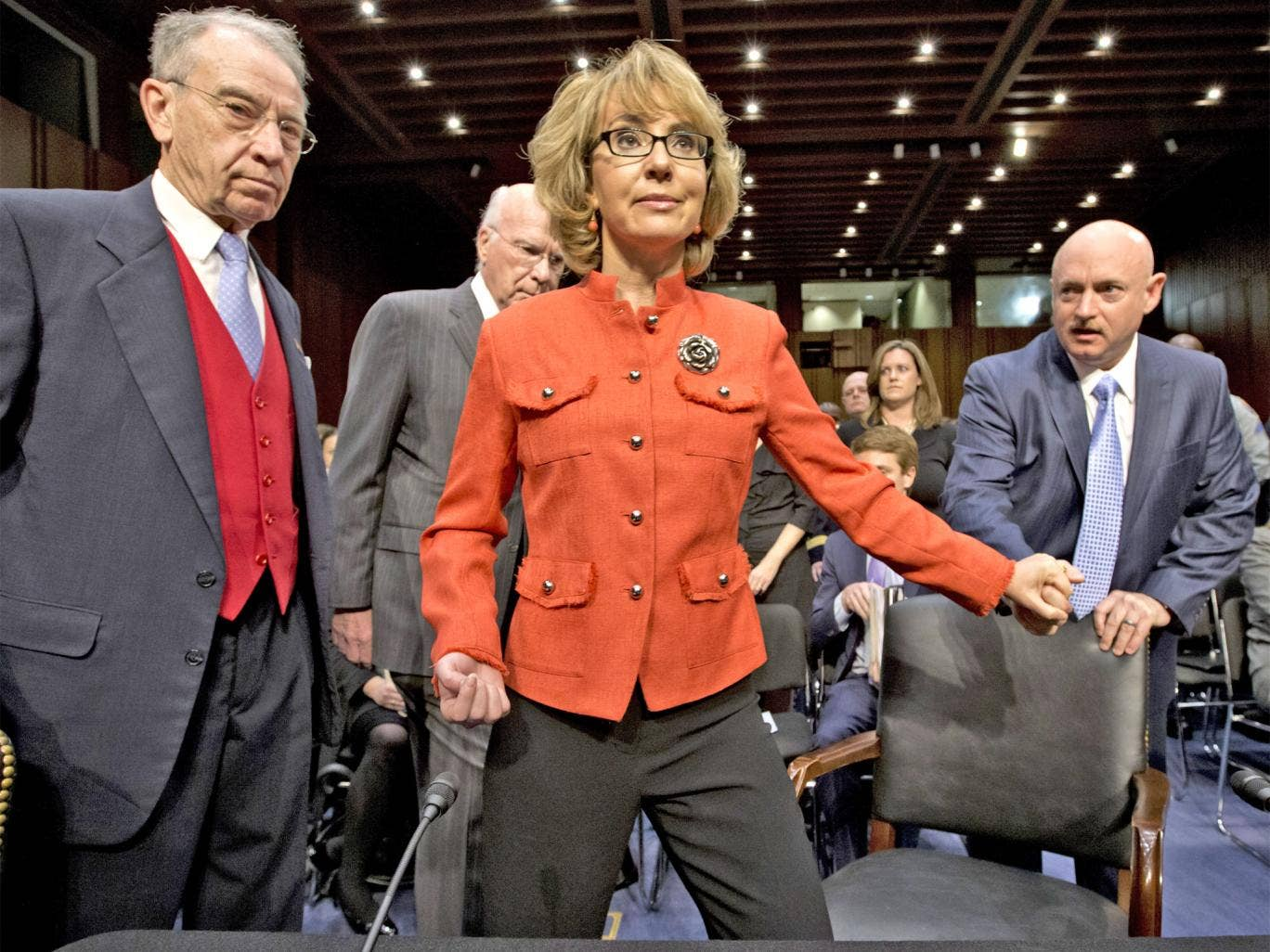 Gabrielle Giffords arrives for the Senate hearing yesterday