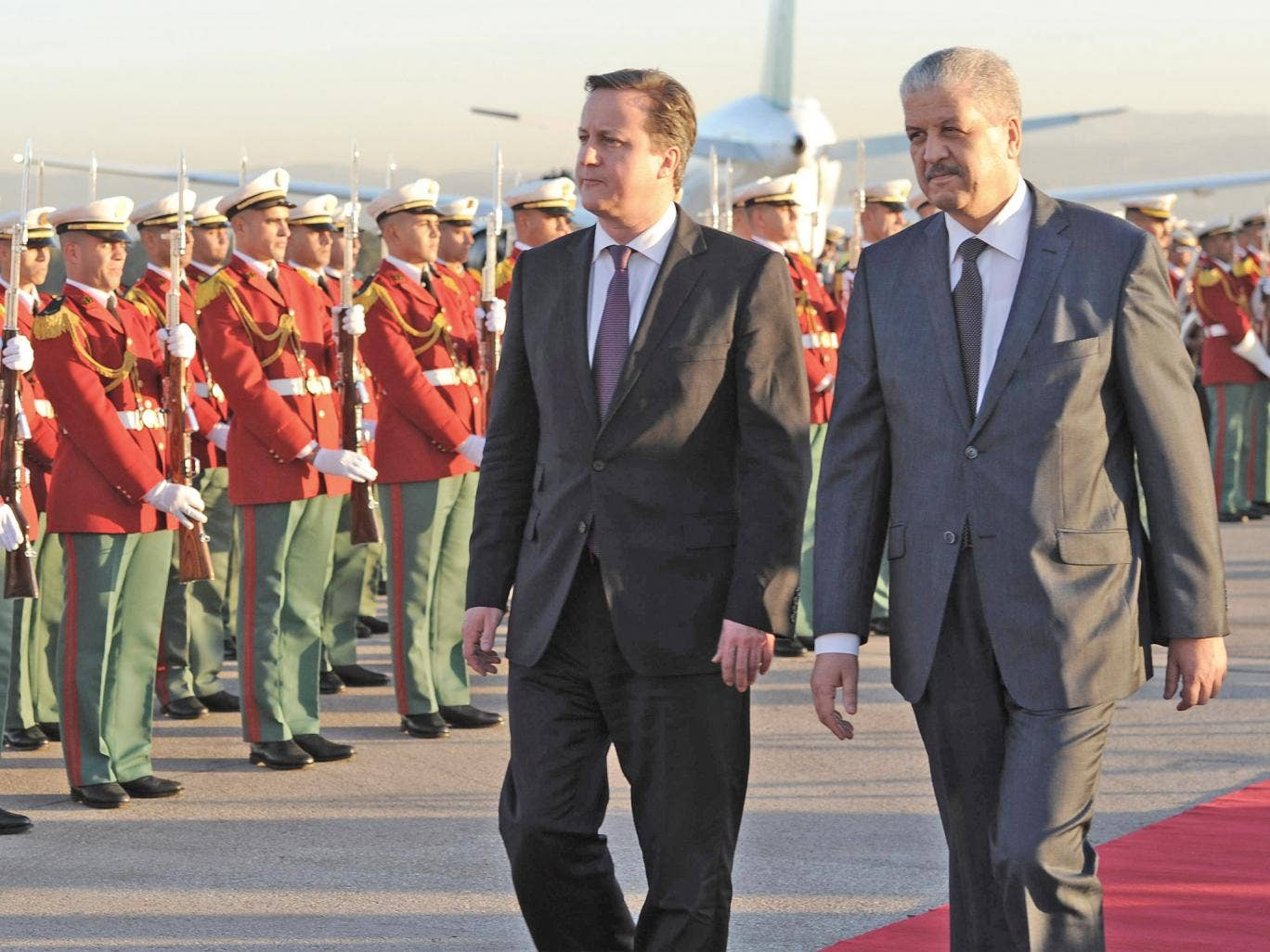 David Cameron with Prime Minister Abdelmalek Sellal at the start of his trip to Algeria yesterday
