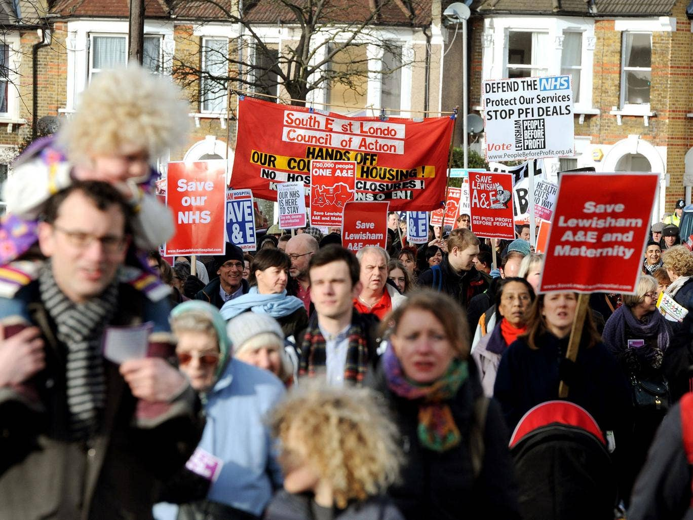 Protesters taking part in a demonstration against the closure of their local A&E and maternity services at Lewisham Hospital in south-east London