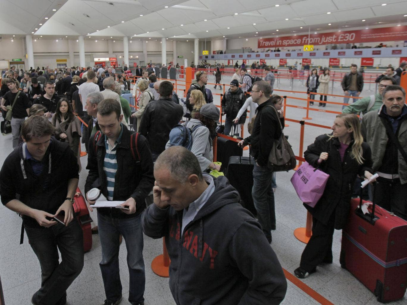Flight disruption at Gatwick airport due to volcanic ash