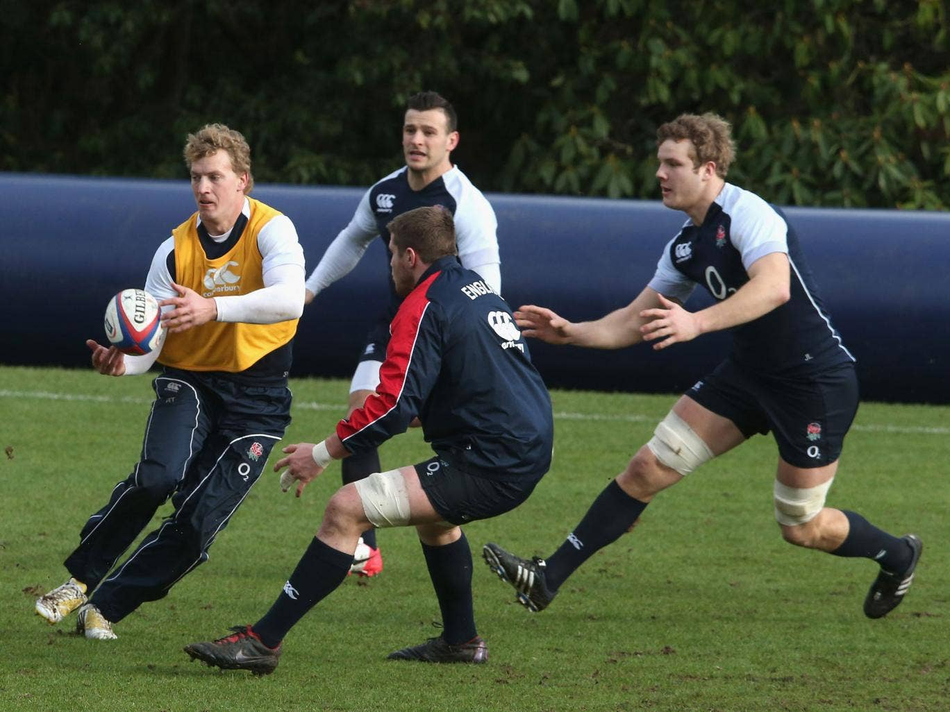 Billy Twelvetrees (with the ball) will make his England debut against  Scotland