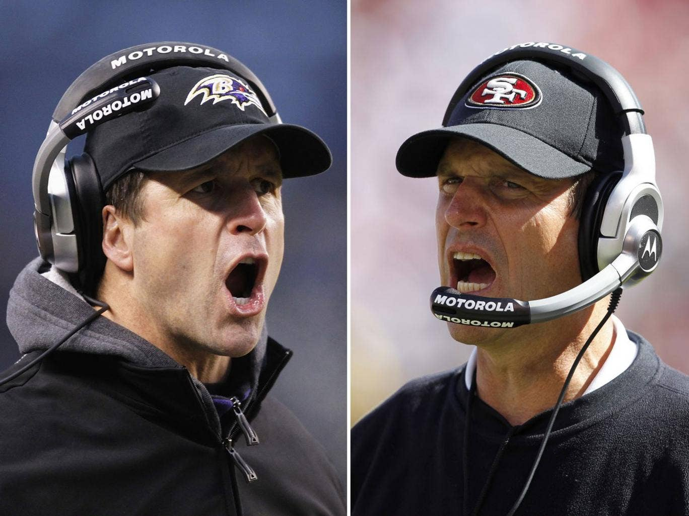 John Harbaugh (left) and his Baltimore Ravens go head to head with younger brother Jim's San Francisco 49ers in America's showpiece