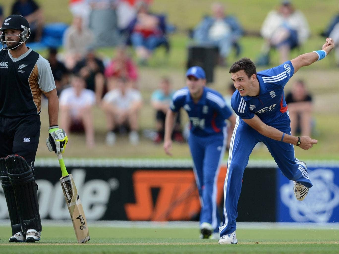 Steven Finn of England bowls during a T20 Practice Match against a New Zealand XI