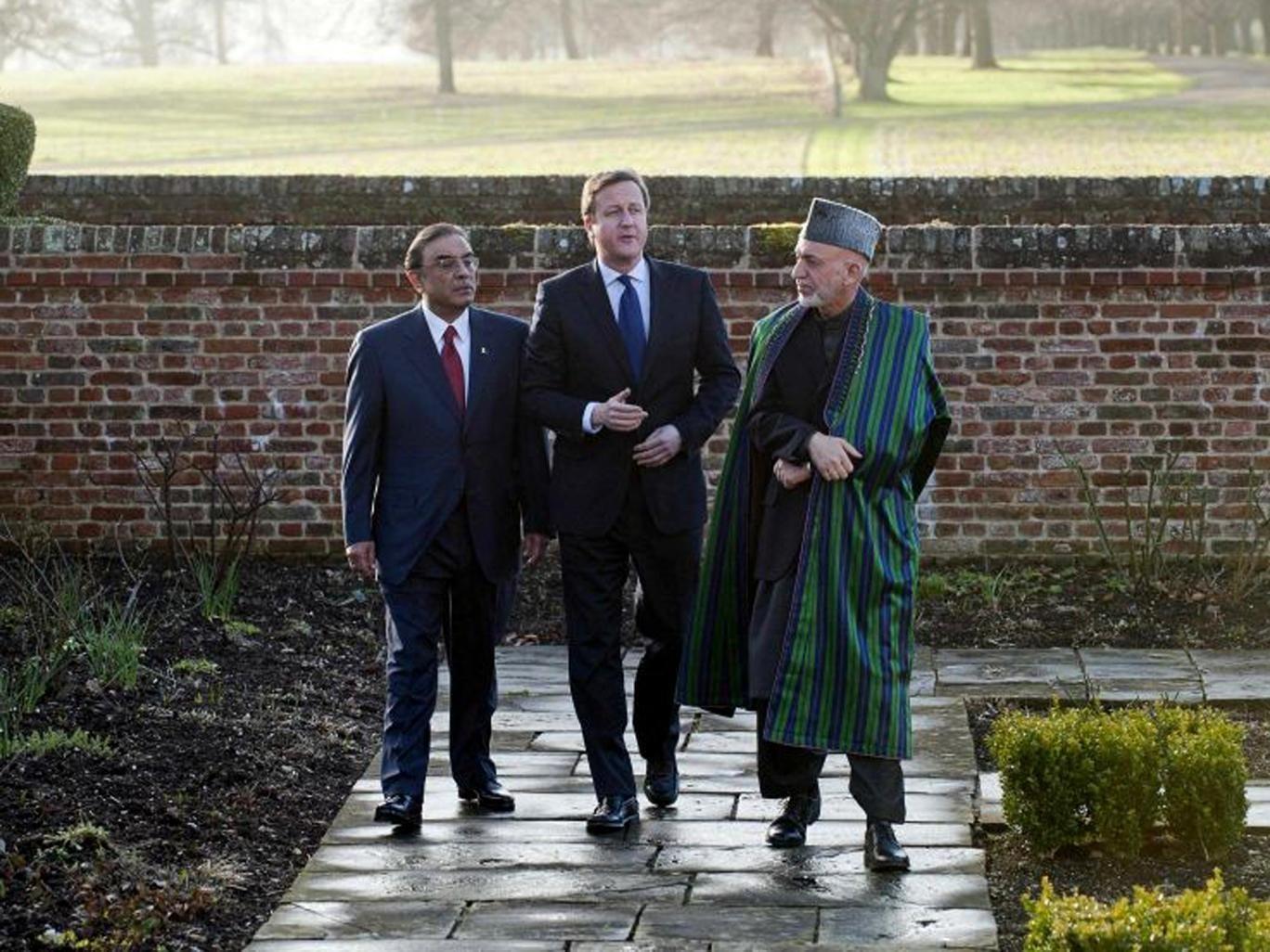 Asif Ali Zardari, David Cameron and Hamid Karzai at Chequers