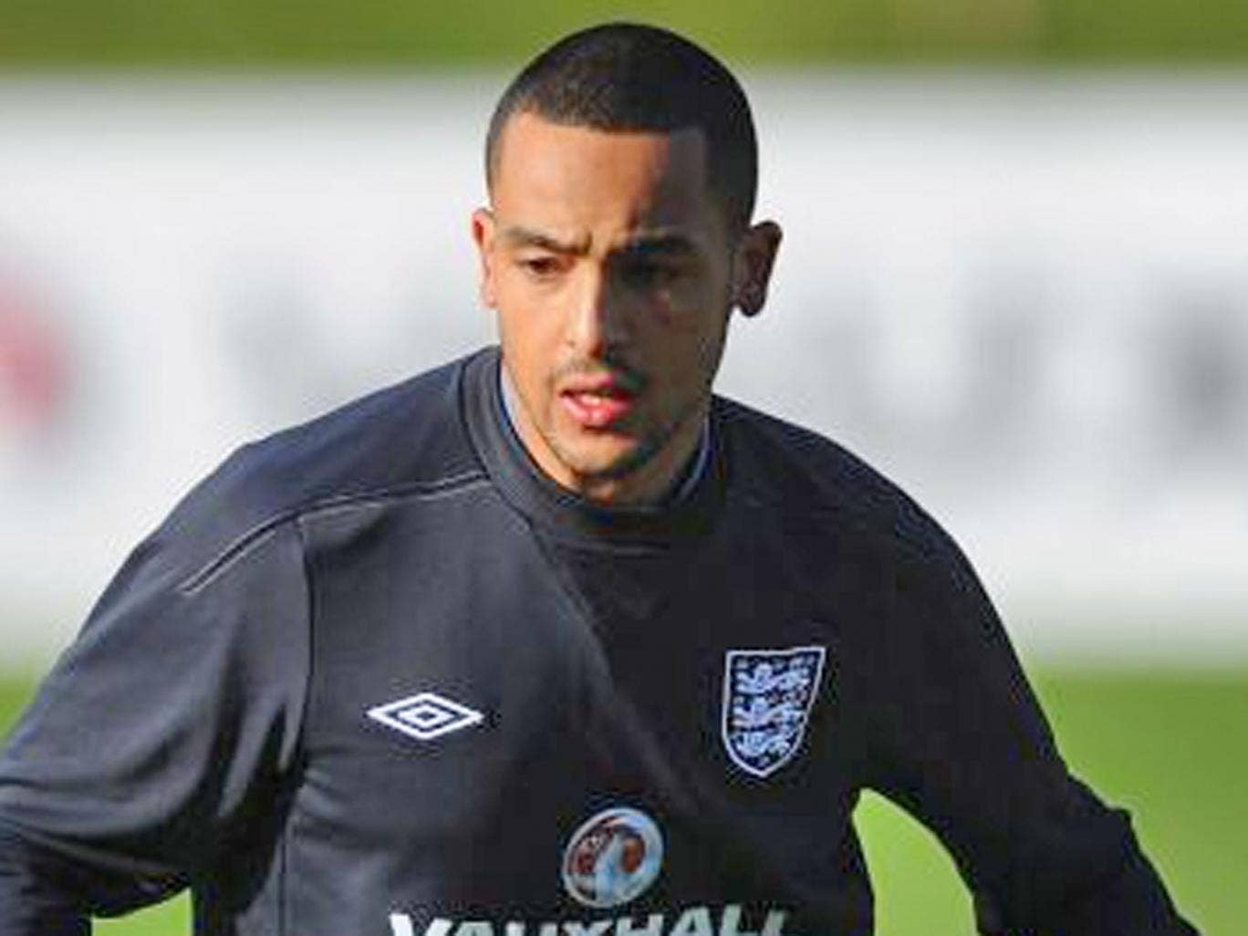 Theo Walcott training with England at St George's Park yesterday