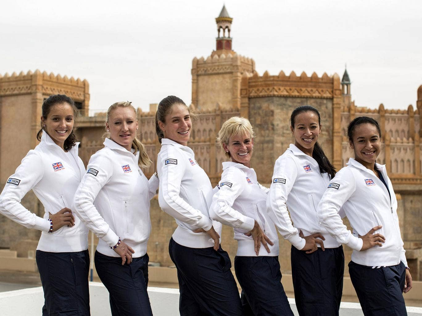 (From left) Laura Robson, Elena Baltacha, Johanna Konta, Judy Murray, Anne Keothavong and Heather Watson are in Israel as Britain try to qualify for the Fed Cup world group for the first time in 20 years