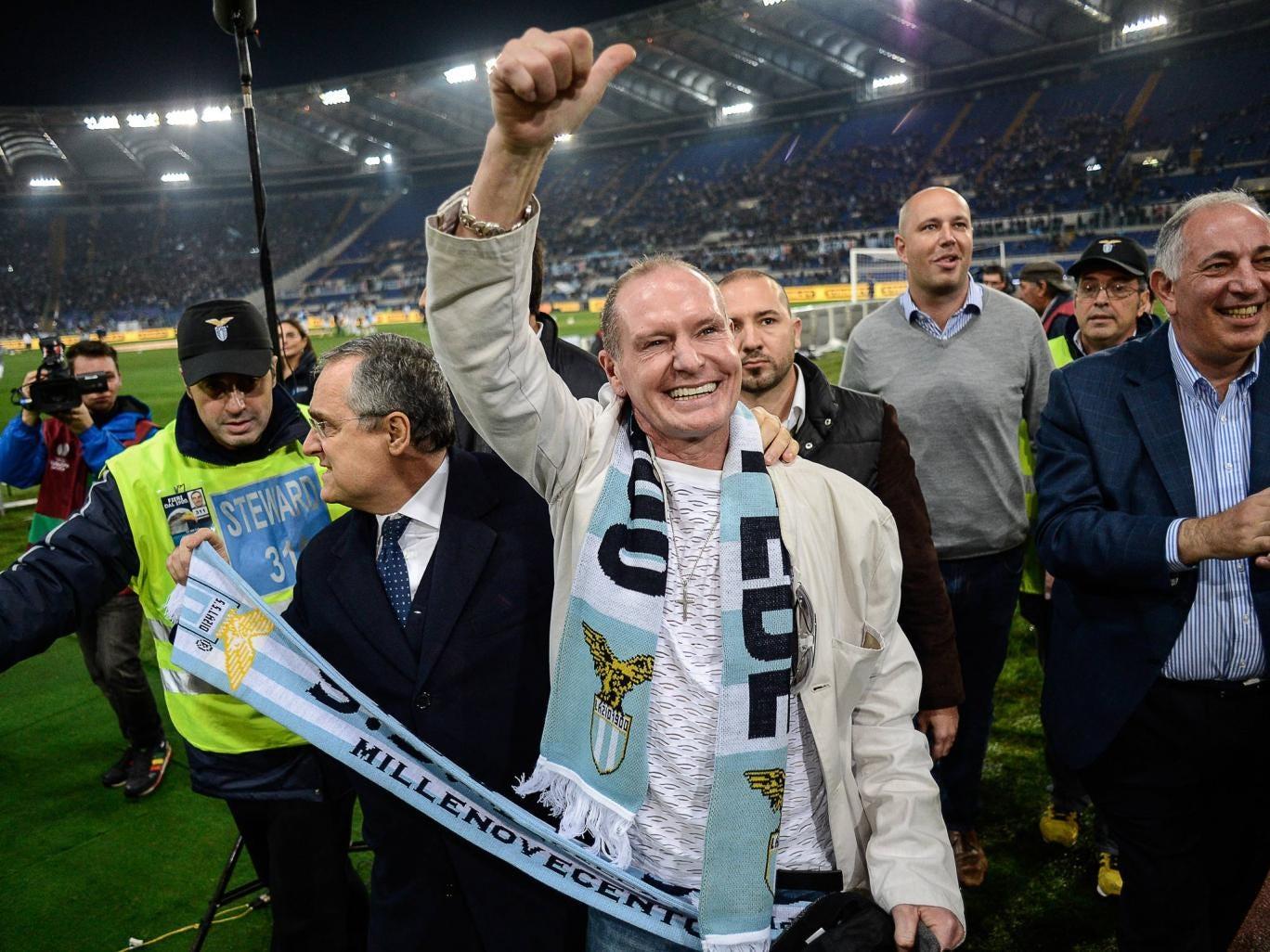 Paul Gascoigne pictured in November last year at a Lazio match