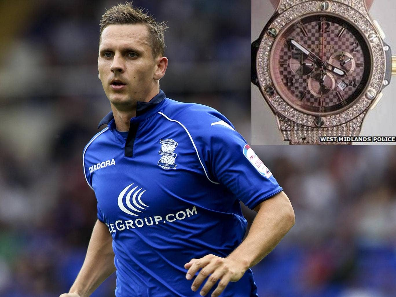 Peter Lovenkrands, plus inset, an image released by West Midlands police of a similar diamond-encrusted Hublot watch