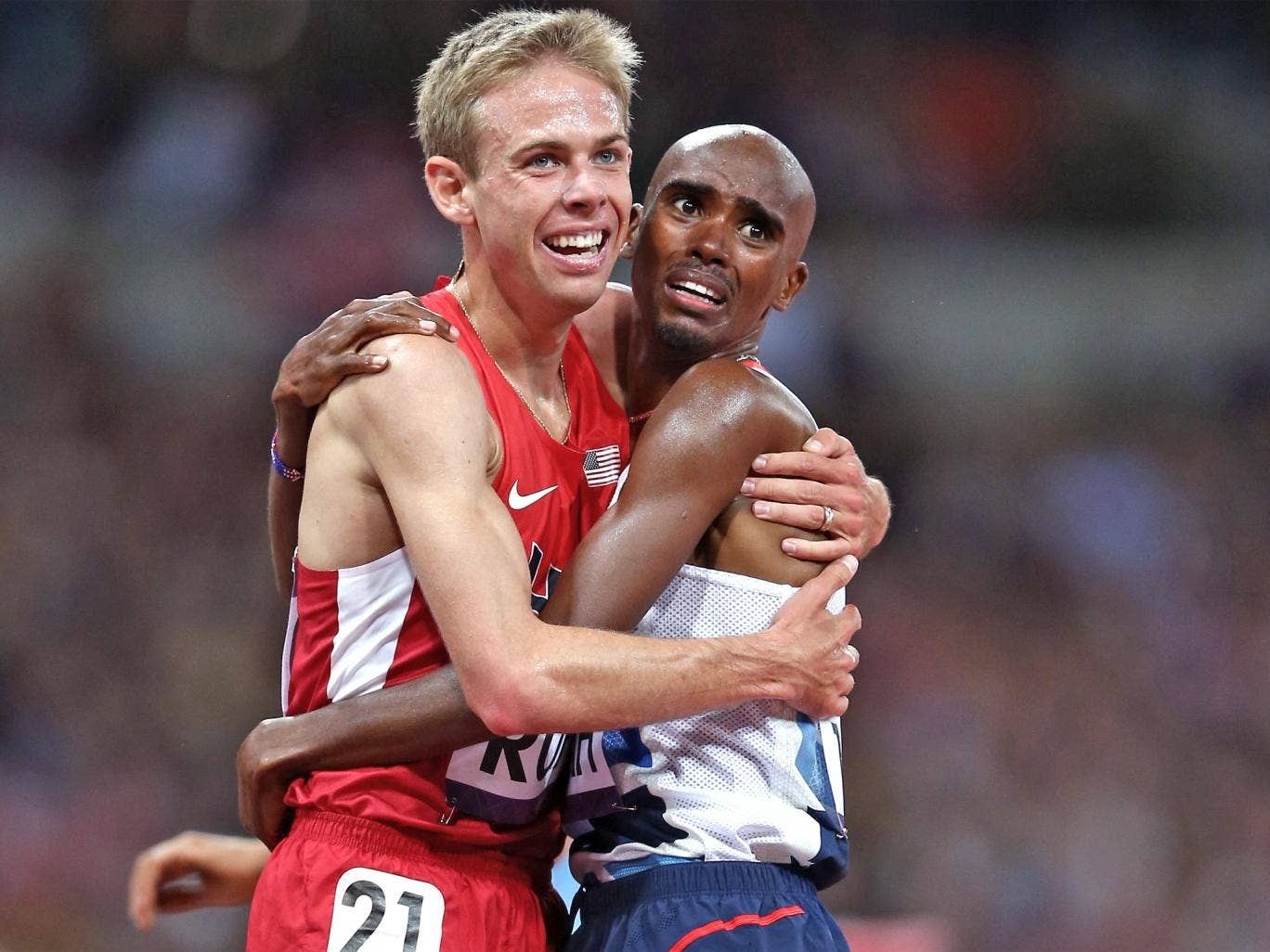 Rupp and Farah after the Olympic Men's 10,000m Final