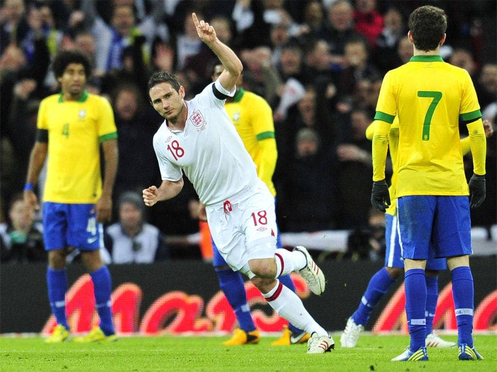 Frank Lampard celebrates England's winner