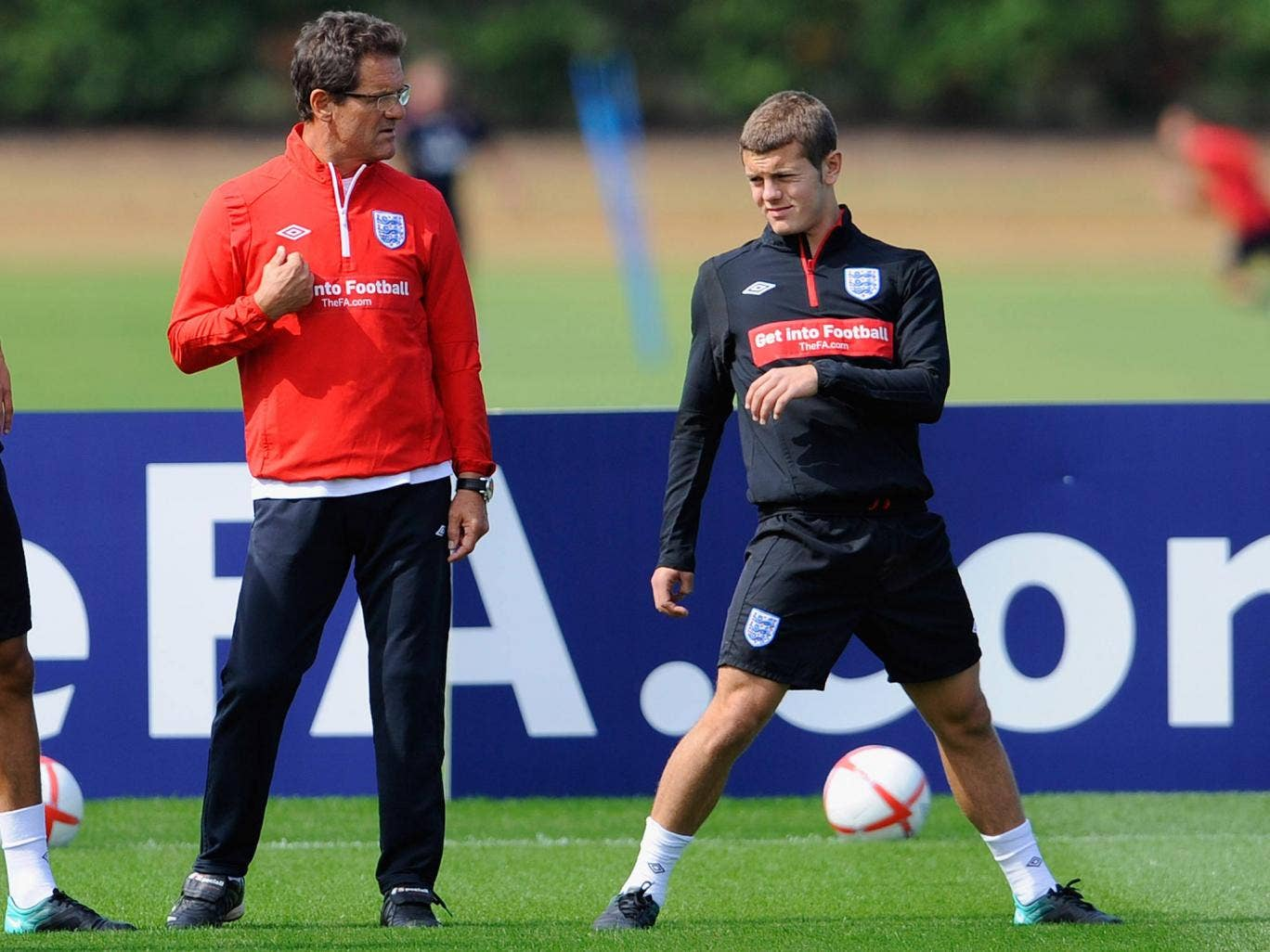 Jack Wilshere pictured training under the gaze of Fabio Capello in 2010