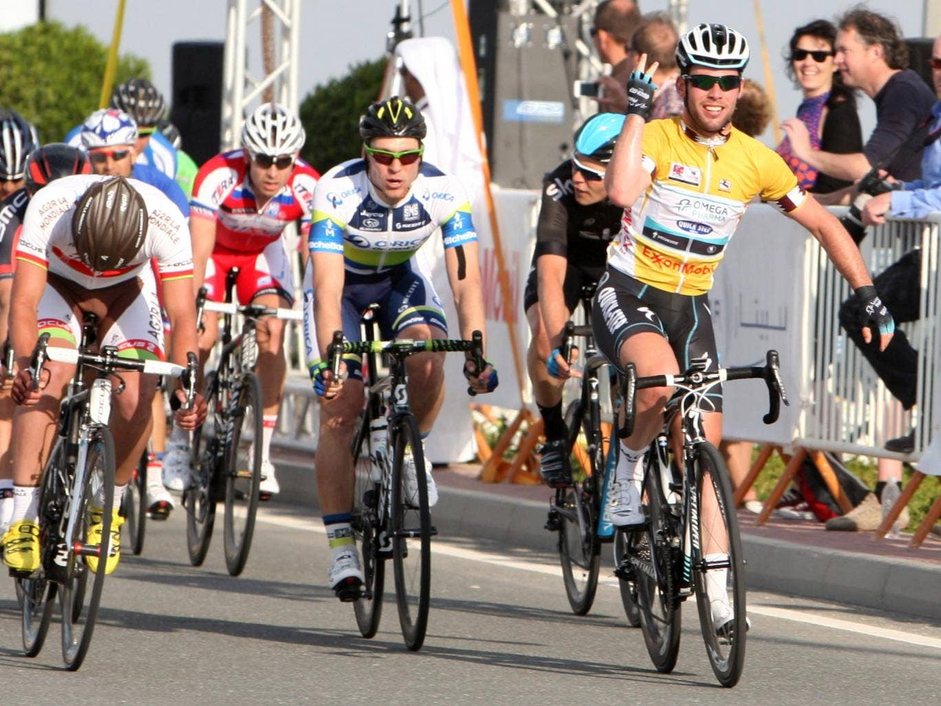 Mark Cavendish celebrates his third stage victory in a row