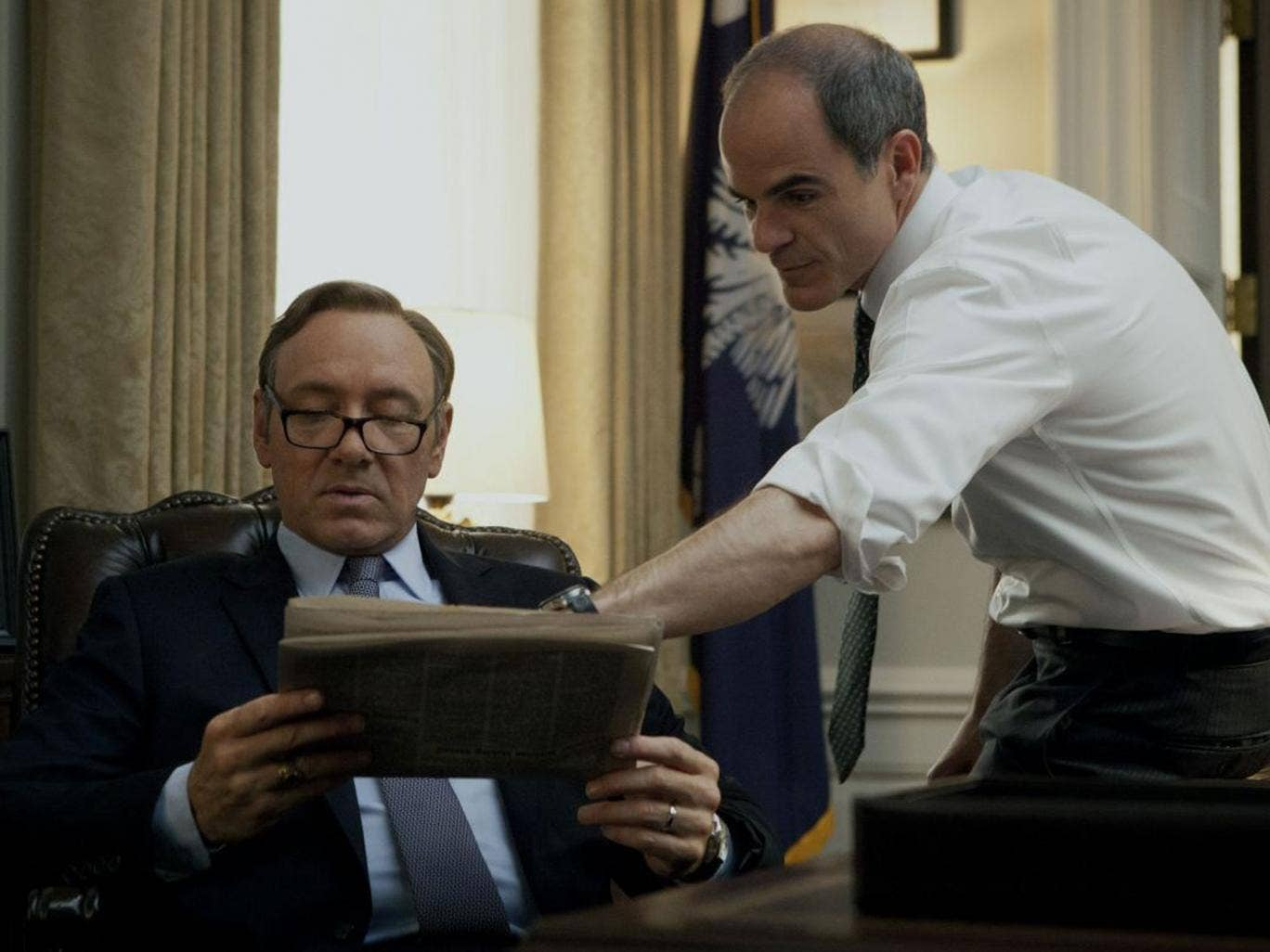 Kevin Spacey (left) in House of Cards