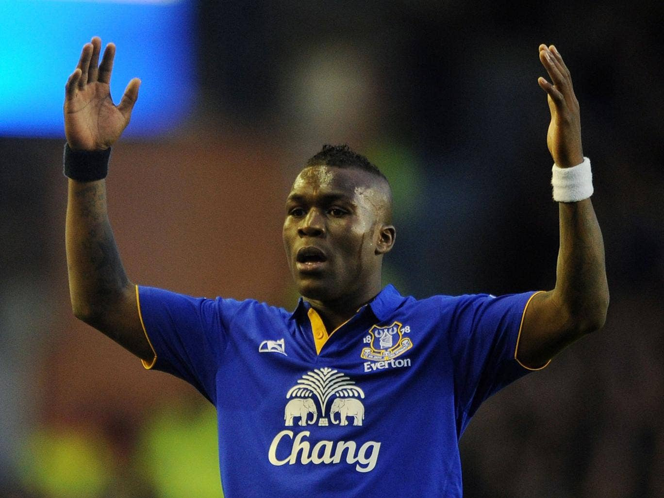 Royston Drenthe of Everton reacts during the Barclays Premier League match between Everton and Blackburn Rovers