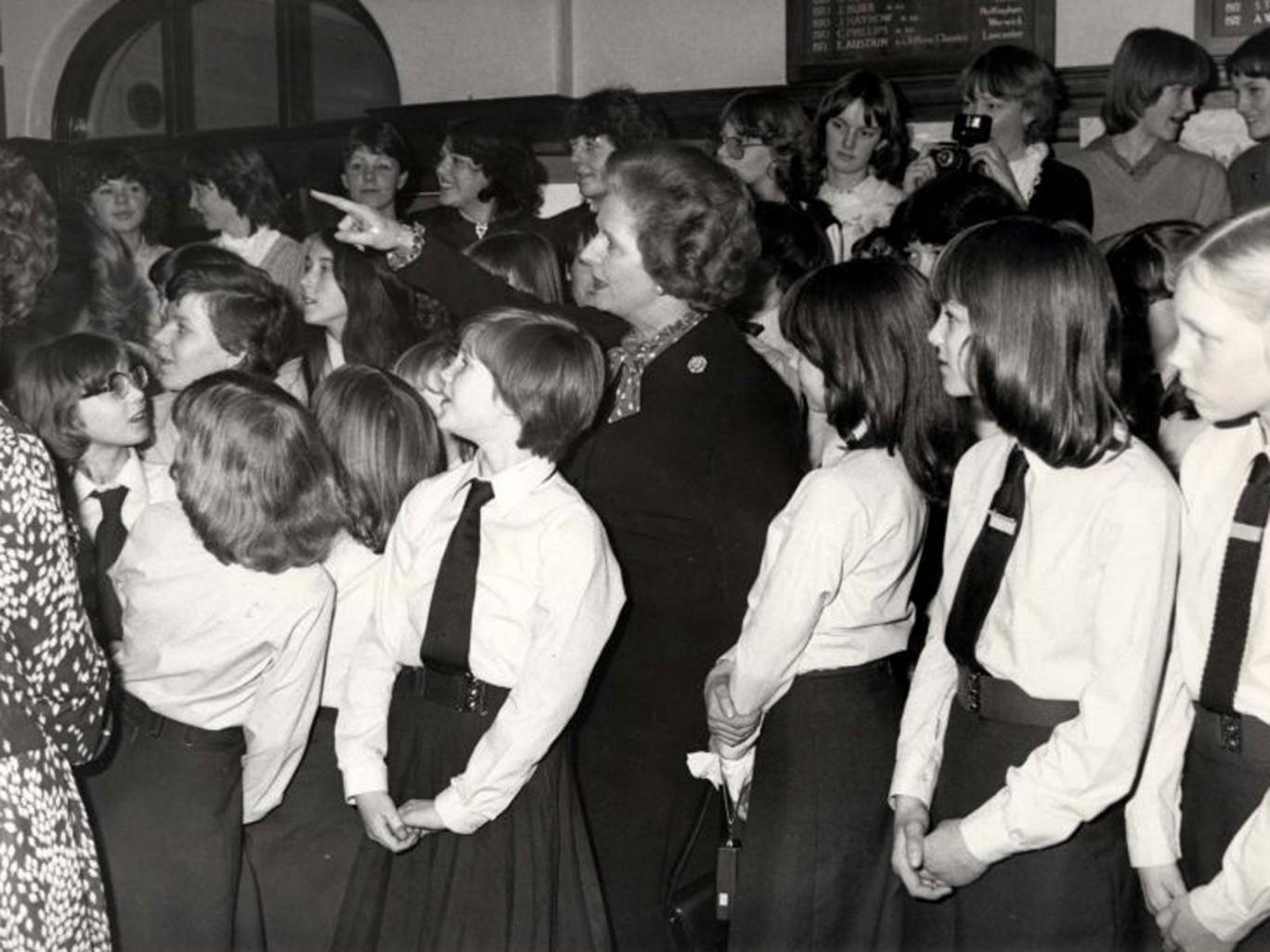 Margaret Thatcher during a visit to her old school, Kesteven and Grantham Girls' Grammar, in 1982