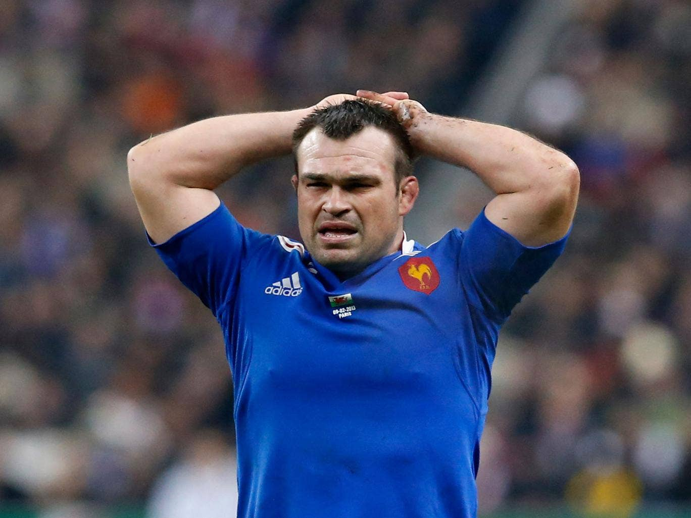 Nicolas Mas of France holds his head in disappointment during his team's match with Wales