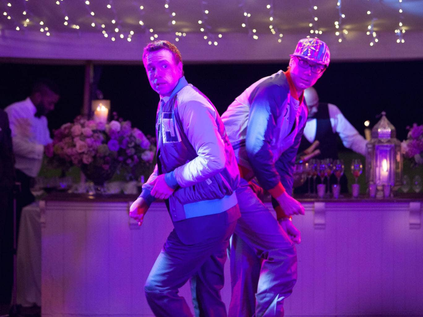 Dance partners: Rafe Spall, left, and Stephen Merchant play best friends in I Give It a Year