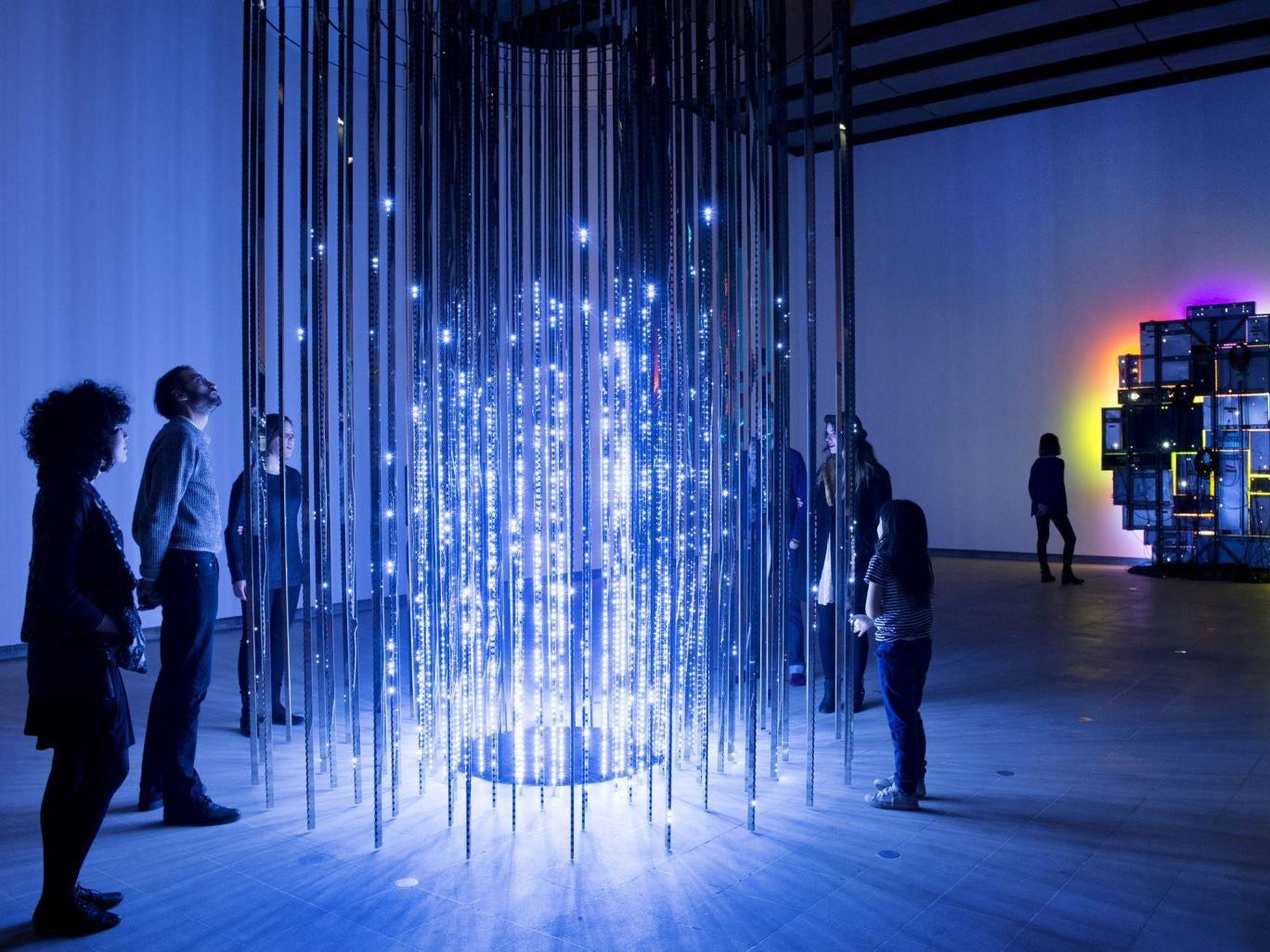Light fantastic: Leo Villareal's Cylinder II, left, and David Batchelor's Magic Show